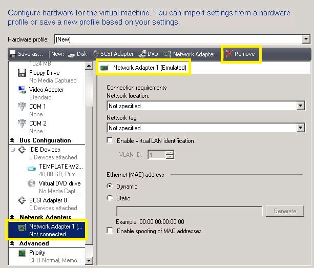 How to: Hyper-V chancing legacy NIC to synthetic NIC interface «