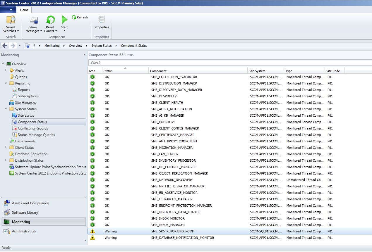 """ConfigMgr 2012 SMS """"The report service is not running on Reporting"""
