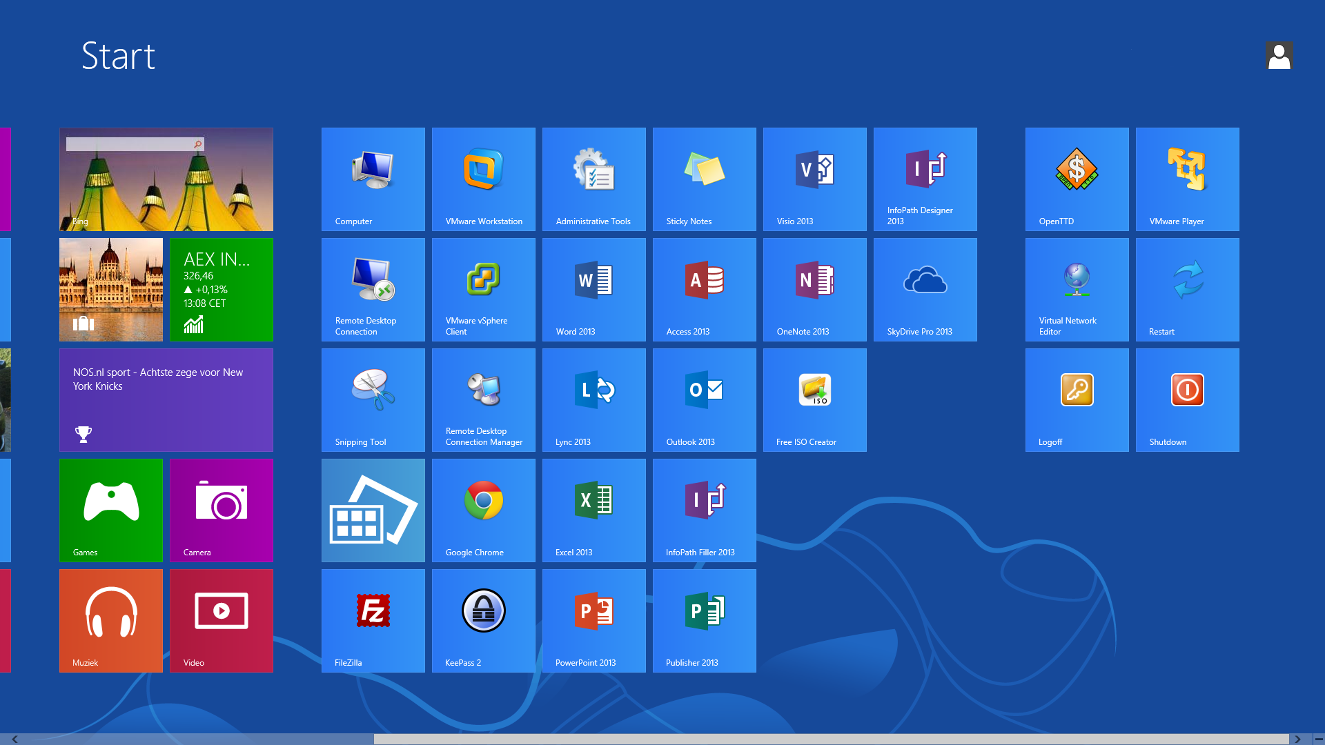 Windows tiles for Window opens off screen