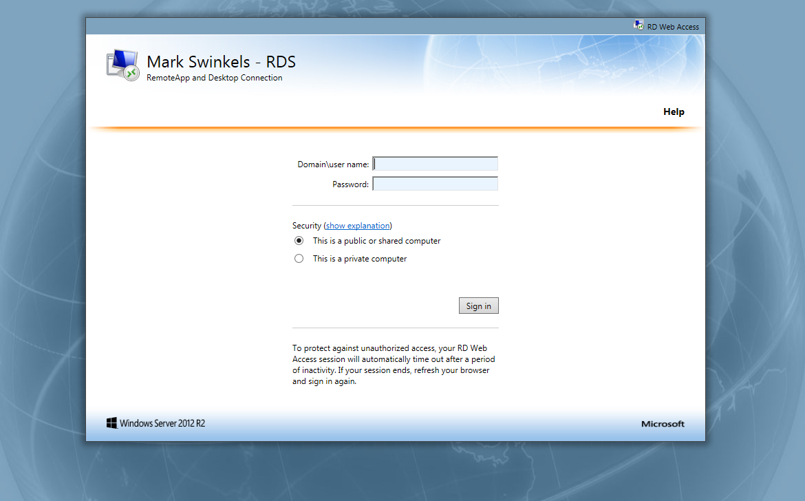 """How to: Remove """"Connect to a remote PC"""" in RDS 2012 R2 «"""